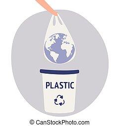 concetto, bags., isolated., dire, ecologia, conversation., umano, terra, recycling., no, catastrophe., plastica, non-use, vector., appartamento, presa a terra, eco, editable, mano, segregazione, plastic., pianeta, borsa, vettore, bag.