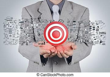 concetto, bersaglio, strategia affari, mano, uomo affari, segno, 3d