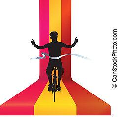 concetto, bicicletta, ciclista, -, corsa vincente, finitura