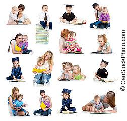 concetto, book., o, presto, bambini, collezione, bambini, childhood., educazione, lettura