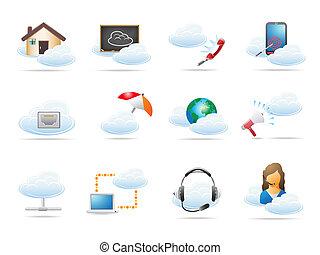 concetto, calcolare, nuvola, icona
