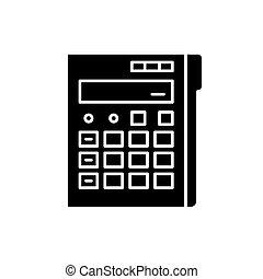 concetto, calcolatore, isolato, illustrazione, segno, fondo., vettore, nero, icona, simbolo