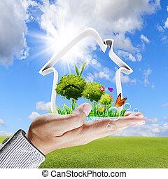 concetto, casa, mano, verde, umano, mostra