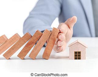 concetto, casa, modello, assicurazione, legno