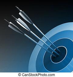 concetto, centro, successo, -, frecce, colpire, affari, bersaglio