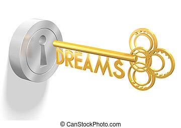 concetto, -, chiave, fare un sogno, 3d
