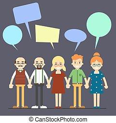 concetto, ciarlare, persone, comunicazione