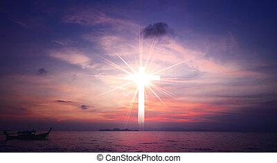 concetto, cielo, croce, gesù, christ:, fondo, tramonto, bianco