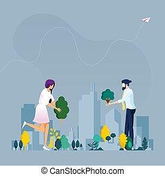 concetto, city., verde, ecologia