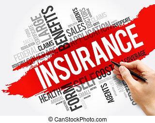 concetto, collage, parola, nuvola, assicurazione, sanità