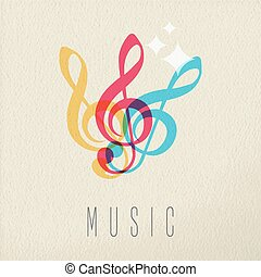 concetto, colorare, nota, disegno, musica, audio, musicale, icona
