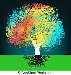 concetto, colorito, astratto, eps, albero., 8