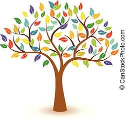 concetto, colorito, foglie, albero, vettore, icona