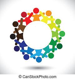 concetto, colorito, icone, graphic-, astratto, bambini, vettore, gioco