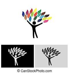 concetto, colorito, persone, eco, albero, foglie, vettore, logotipo