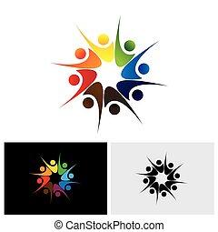 concetto, condivisione, &, gioia, personale, vettore, logotipo, felice, amici, o, felicità, icona