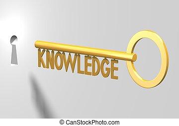 concetto, -, conoscenza, chiave, 3d