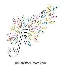 concetto, contorno, natura, foglie, nota, musica