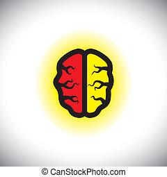 concetto, creativo, cervello, vettore, intelligente, icona