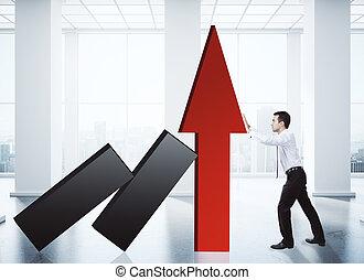 concetto, crescita, vendite
