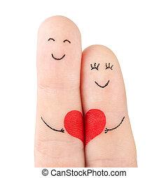 concetto, cuore, famiglia, dipinto, -, dita, isolato, donna, fondo, bianco, presa, rosso, uomo