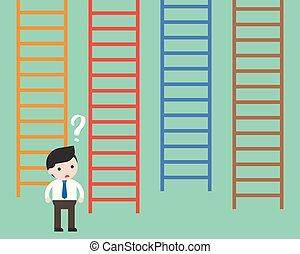 concetto, decisione affari, confuso, scala, scegliere, uomo affari, fabbricazione