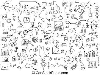 concetto, disegnare, elementi, finanza, affari, scarabocchiare, graph., grafico, illustrazione, mano, earnings., analytics, vettore, soldi, icona, moneta