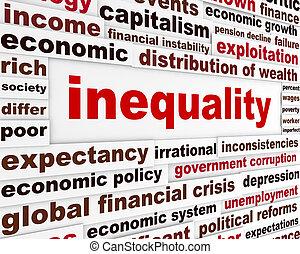 concetto, disuguaglianza, parole, creativo