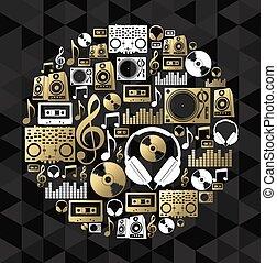 concetto, dj, oro, cd, forma, set, musica, vinile, icona