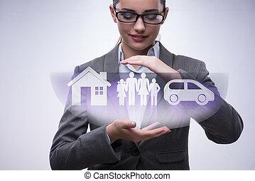 concetto, donna d'affari, giovane, assicurazione