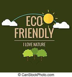 concetto, eco, alberi., illustrazione, vettore, ecologia, friendly.