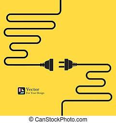 concetto, electricity., sconnessione, collegamento