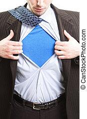 concetto, eroe, affari, -, uomo affari, super, superuomo
