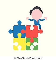 concetto, faceless, seduta, puzzle, jigsaw, carattere, illustrazione, pezzi, vettore, collegato, uomo affari