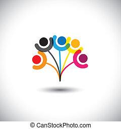 concetto, famiglia, &, esposizione, albero, bonding, vettore, relationship.