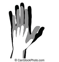 concetto, famiglia, mani, padre, bambino, madre