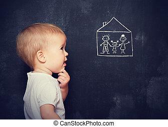 concetto, famiglia, occhiate, disegnato, bambino, casa, asse