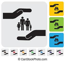 concetto, famiglia, semplice, graphic., figlio, protezione, assicurazione, children)-, &, personale, salute, madre, sicurezza, rappresenta, illustrazione, mano, padre, figlia, questo, ecc, vettore, family(parents