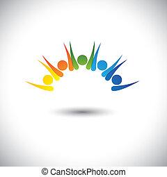concetto, felice, colorito, persone, -, detenere, vettore, divertimento, eccitato