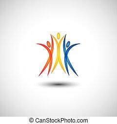 concetto, felice, gioioso, persone, -, insieme, vettore, icona, saltare