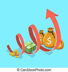 concetto, finanziario, affari, roi, crescita, produttività, performance.