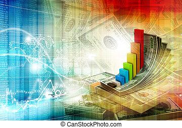 concetto, finanziario, illustrazione digitale, crescita