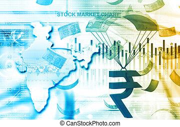 concetto finanziario, india, crescita