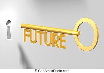 concetto, futuro, -, chiave, 3d