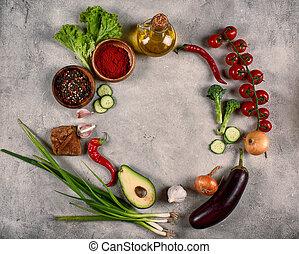 concetto, genuino, cibo sano, fondo, vegetable.