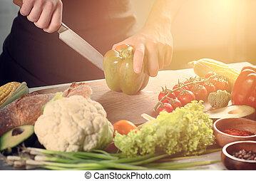 concetto, genuino, vegetables., cibo, lavoro, chef