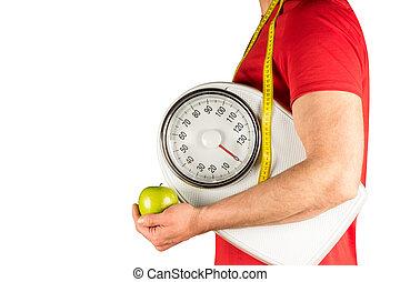 concetto, giovane, dieta, uomo