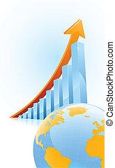 concetto, globl, crescita affari