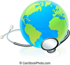 concetto, globo mondo, salute, terra, stetoscopio
