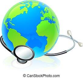 concetto, globo mondo, stetoscopio, terra, salute